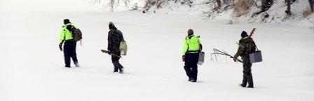 Walking Instead of Using Ice Fishing Sled