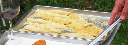 Breaded Fillets Awaiting the Fryer