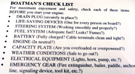 Boatman's Checklist from Owner's Manual