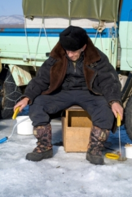 Ice Fishing Concentration With Two Rods